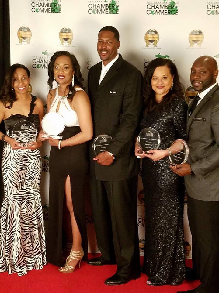 (Pictured from left to right) -- Wendy Bradley, owner of Zoe Life Spa and  Salon; Ashley Willis, owner of Michigan Premier Events; Andre Hutson, ...