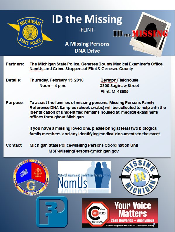 The new citizens press tncp lansing michigan news tncp the michigan state police genesee county medical examiners office namus and crime stoppers of flint genesee county are hosting identify the missing fandeluxe Image collections